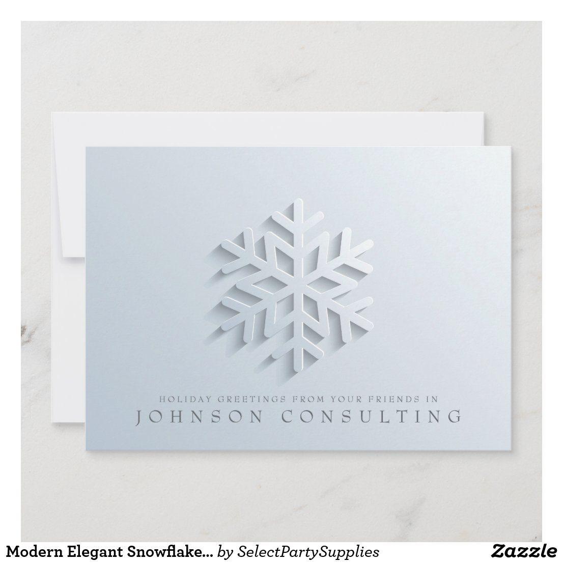 Modern Elegant Snowflake Holiday Greetings Zazzle Com Elegant Snowflake Holiday Greetings Holiday Design Card