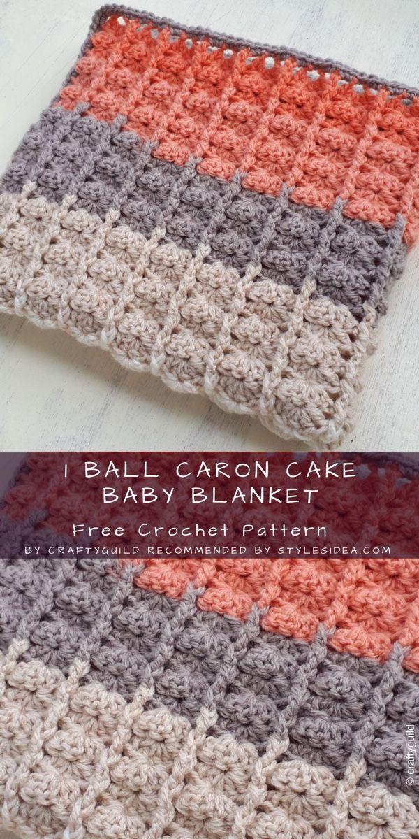 1 Ball Caron Cake Blanket Baby Crochet Free | Pinterest ...