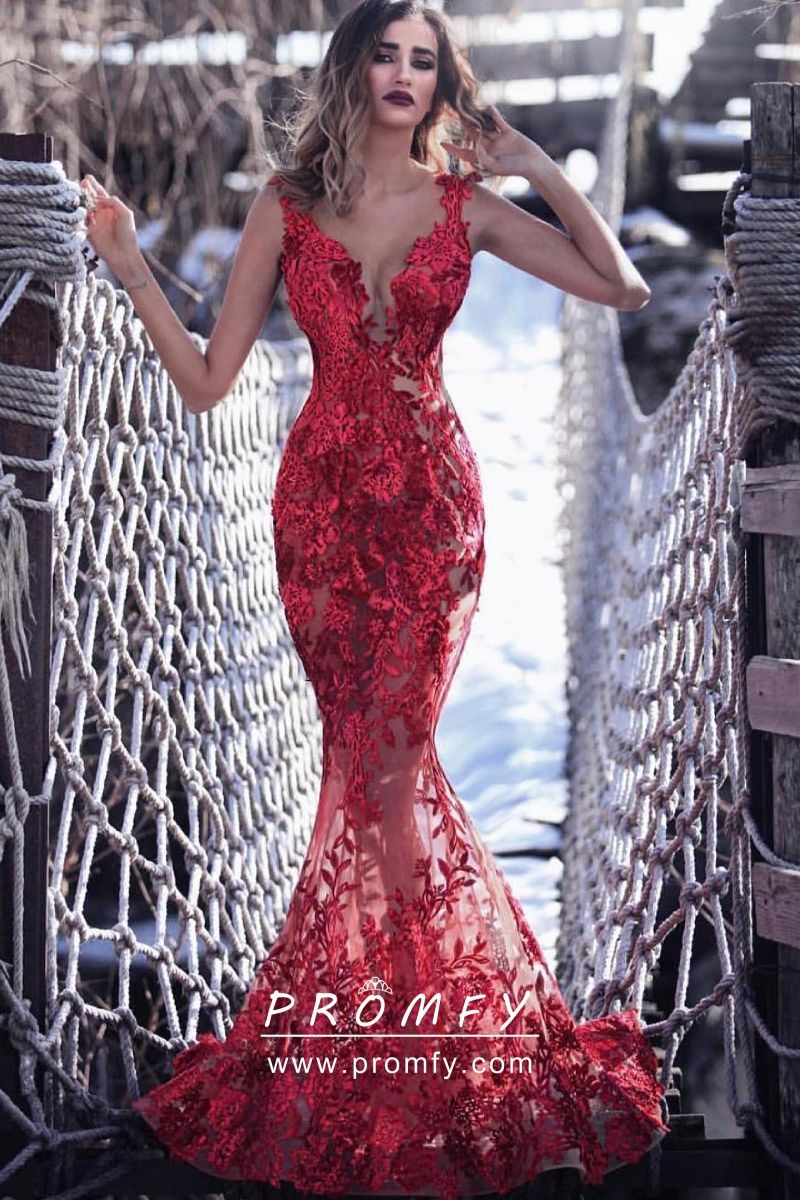 Glamorous See Through Red Lace Mermaid Formal Dress Red Mermaid Prom Dress Prom Dresses Long Mermaid Prom Dresses [ 1200 x 800 Pixel ]