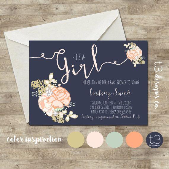 Whimsical Girl Baby Shower Invitation girl baby by T3DesignsCo