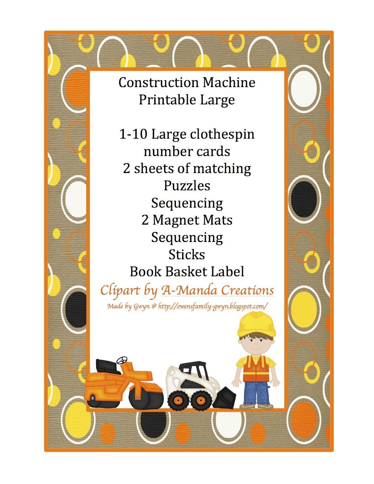 Preschool Printables Construction Vehicles