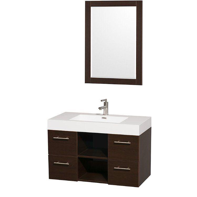 Stephanie Single Bathroom Vanity In Espresso With Acrylic Resin