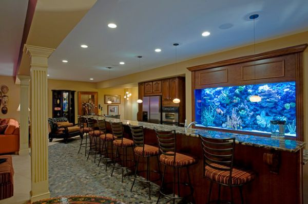 16++ Home bar with built in fish tank ideas