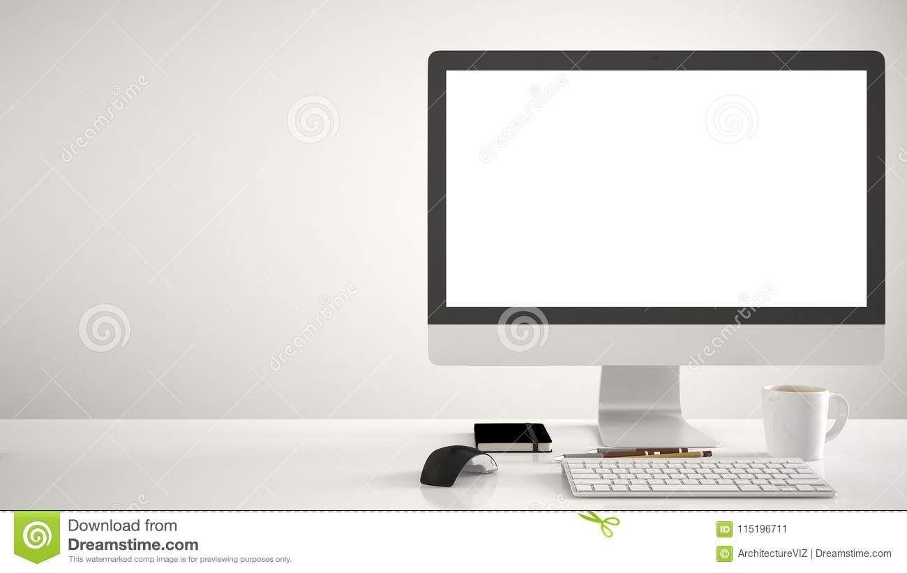 Desktop Mockup Template Computer On Work Desk With Blank Screen Keyboard Mouse And Notepad With P Computer Work Desk Work Desk Computer