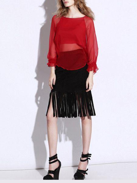 c2e23f4d1ffdf Red Asymmetric Silk Top