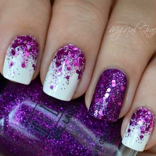 Half moon purple glitter nail art design on top of a matte white nail  polish. - Purple Glitter Nails Nail Arts Pinterest Glitter Nail Designs