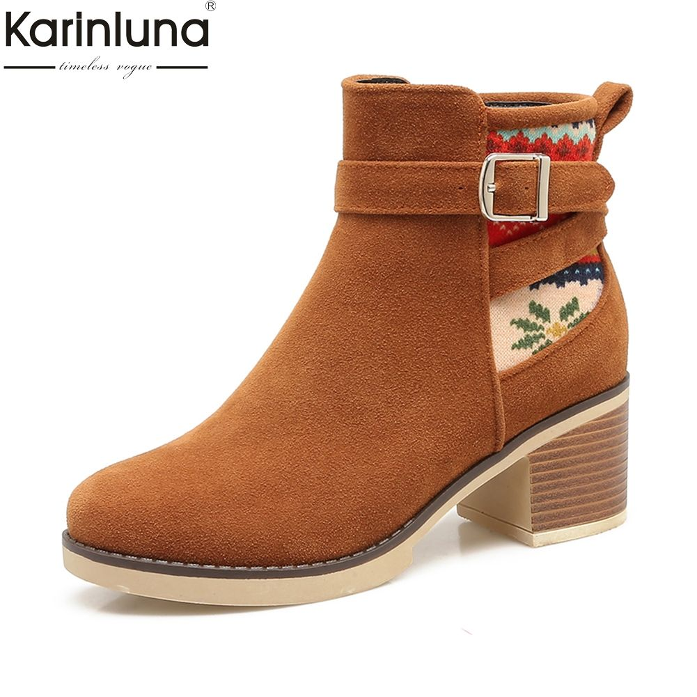 72f1675815a5 Karinluna Brand New Plus Size 34-43 Hot Sale Women Western Boots Woman Shoes  Square Heels Black Gary Ankle Boots Shoes Woman