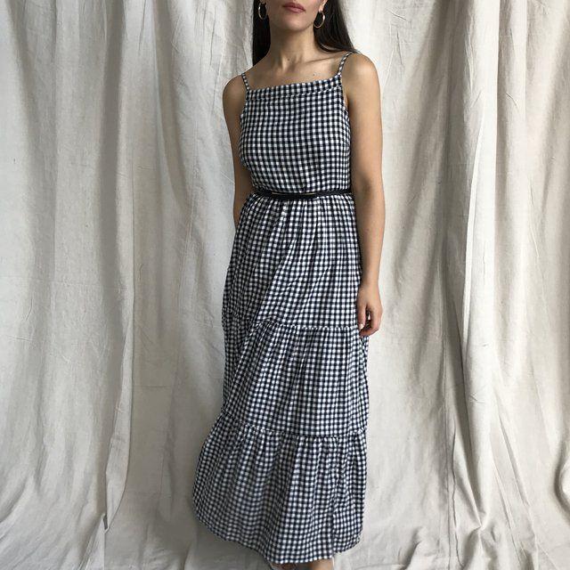 87da35b4ed0d Black and white 100% cotton gingham maxi dress. Spaghetti 3 - Depop