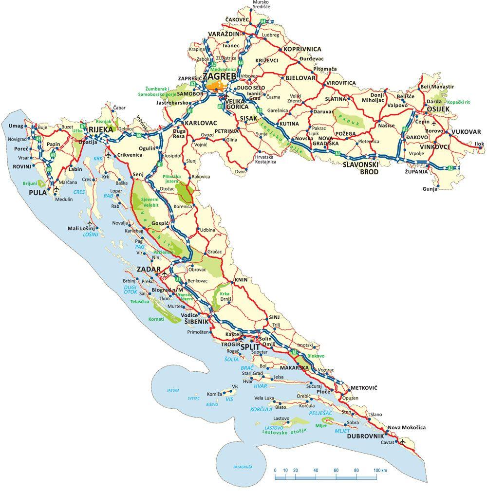 Auto Karta Hrvatske Za Printanje With Images Map Artwork