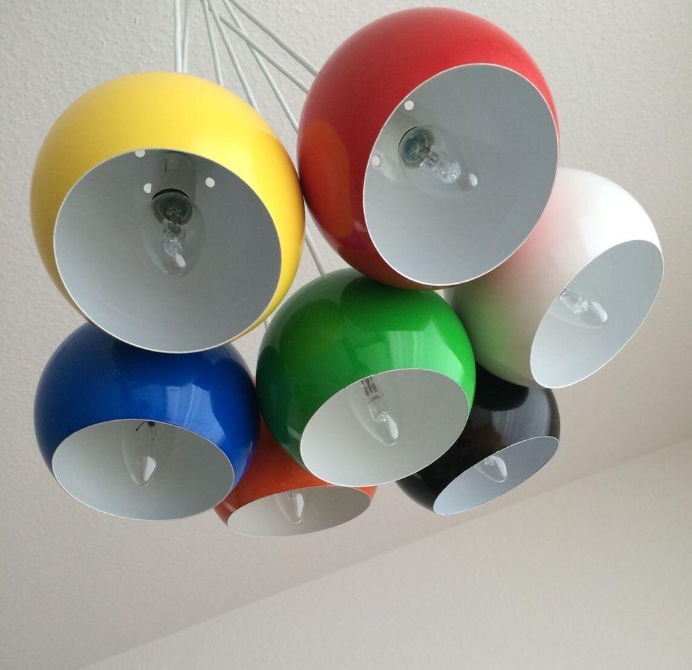 Design Hangeleuchte 7 Kugeln Lampe Calotta Bunt Hangelampe Pendel
