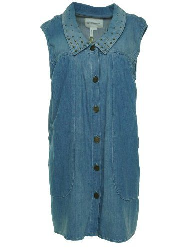 Bcbgeneration Women's Denim Sleeveless Dress Blue Collar Wash Small