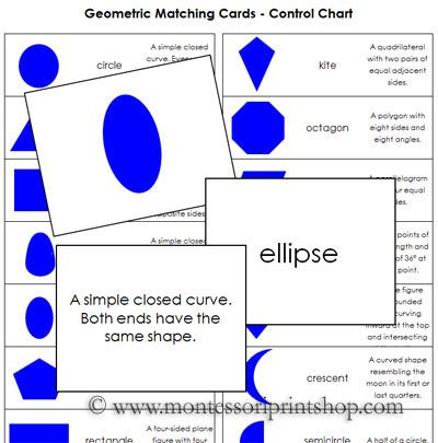 Worksheets Geometric Shapes And Names geometric matching cards learn to identify 18 shapes with definition name cards