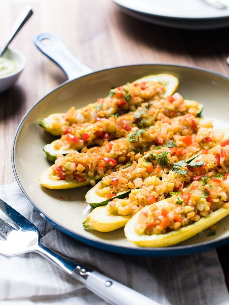 Lentil Stuffed Summer Squash