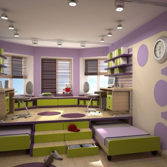 Space Saving Kids Bedroom Furniture Design Layout | Furniture