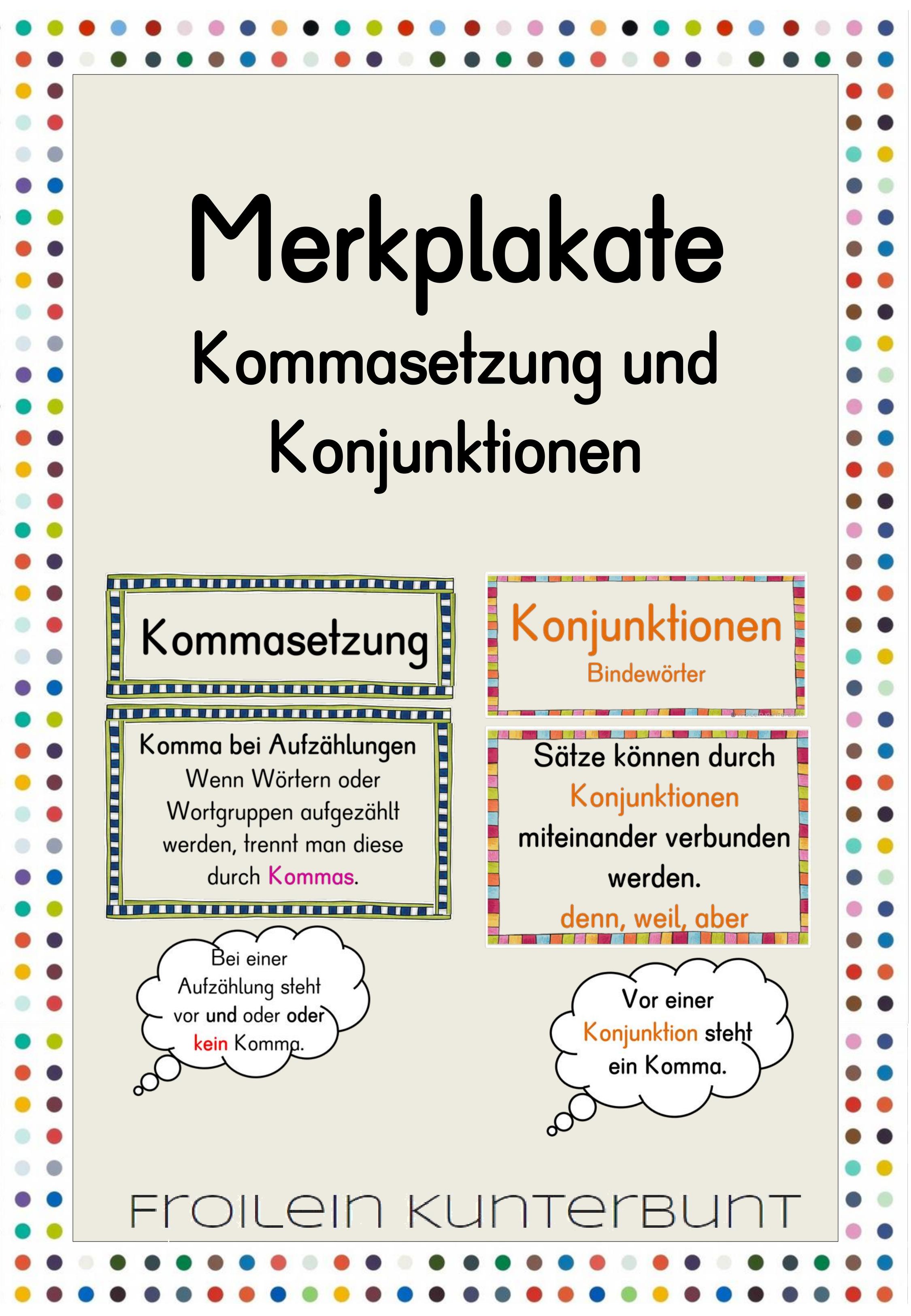 Merkplakate Kommasetzung Und Konjunktionen Unterrichtsmaterial Im Fach Deutsch Kommasetzung Konjunktionen Konjunktionen Deutsch
