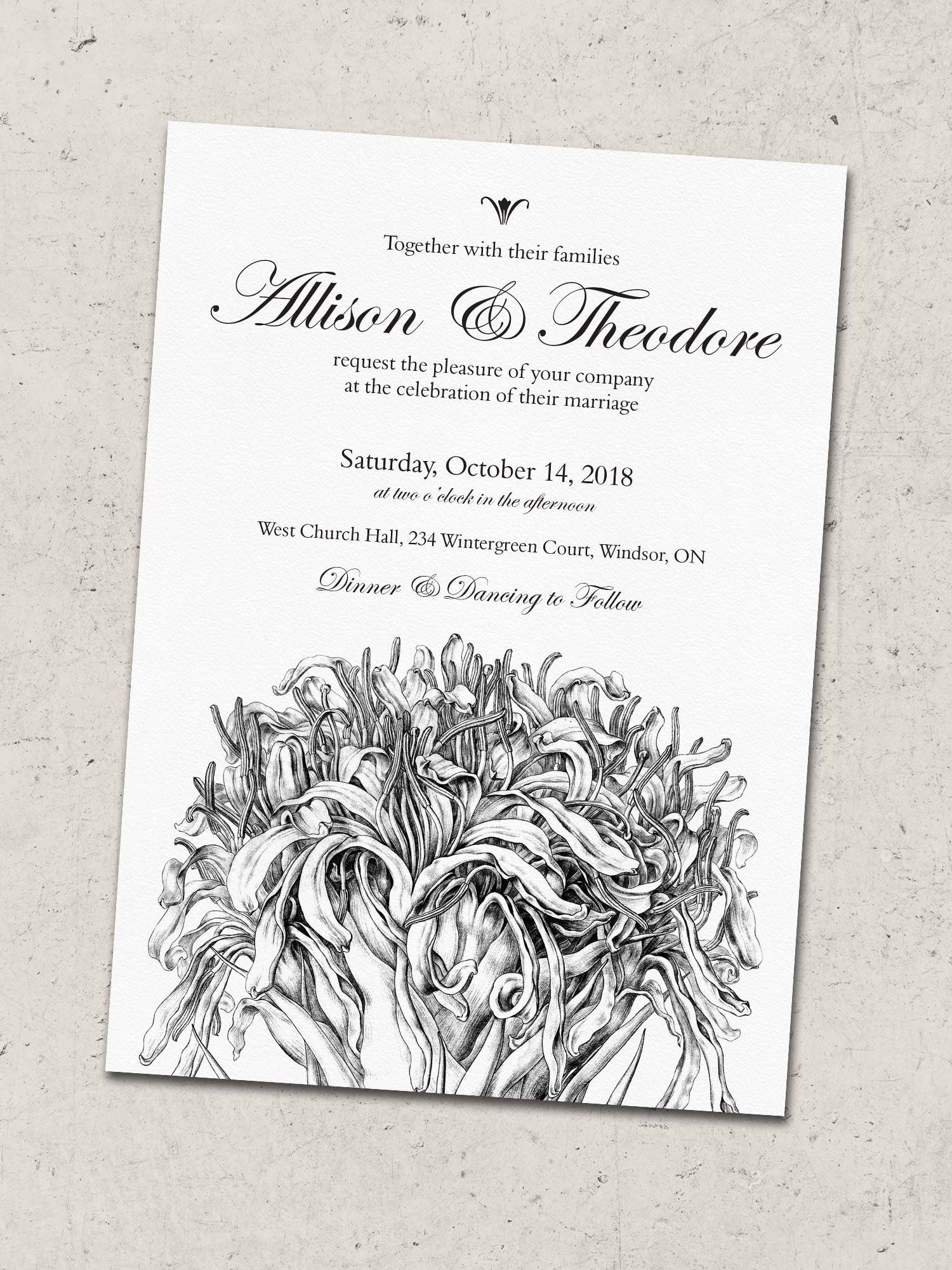 Simple Elegant Wedding Invitation Printable | Black & White Wedding ...