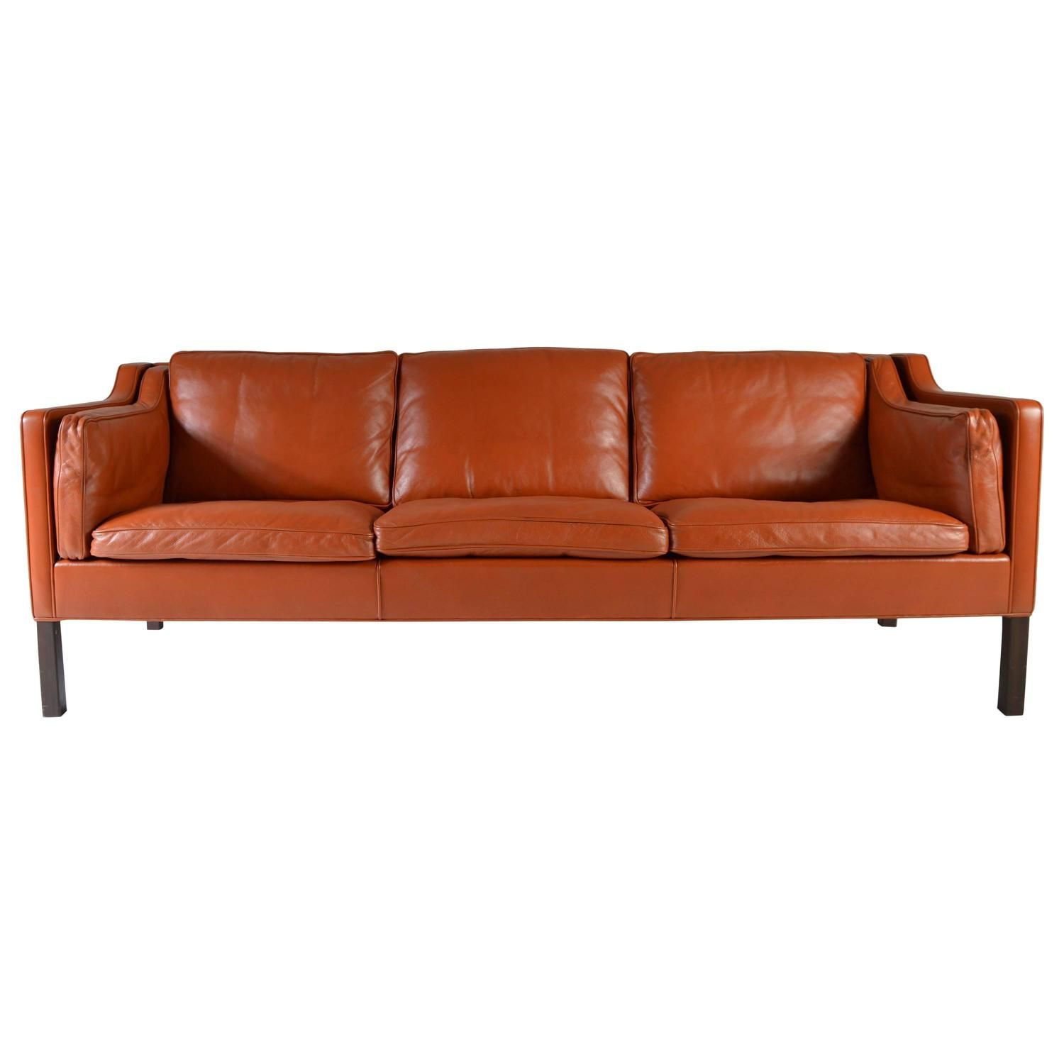Cognac Leather Sofa By Børge Mogensen For Fredericia Stolefabrik