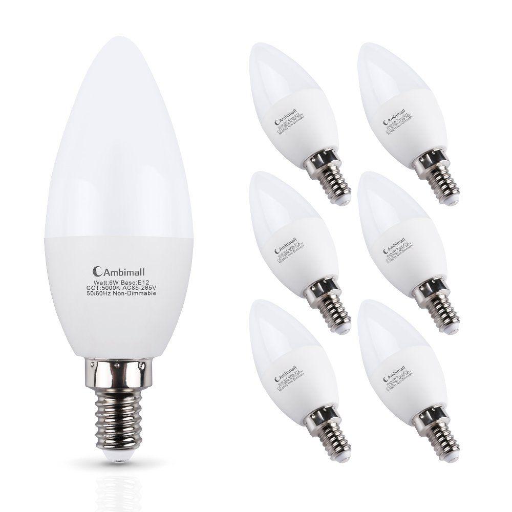 Ambimall E12 Led Bulb 60watts 6 Watt Led Candelabra Bulbs Daylight White 5000k 600lumens B11 Chandelier Light B Led Candelabra Bulbs Candelabra Bulbs Led Bulb