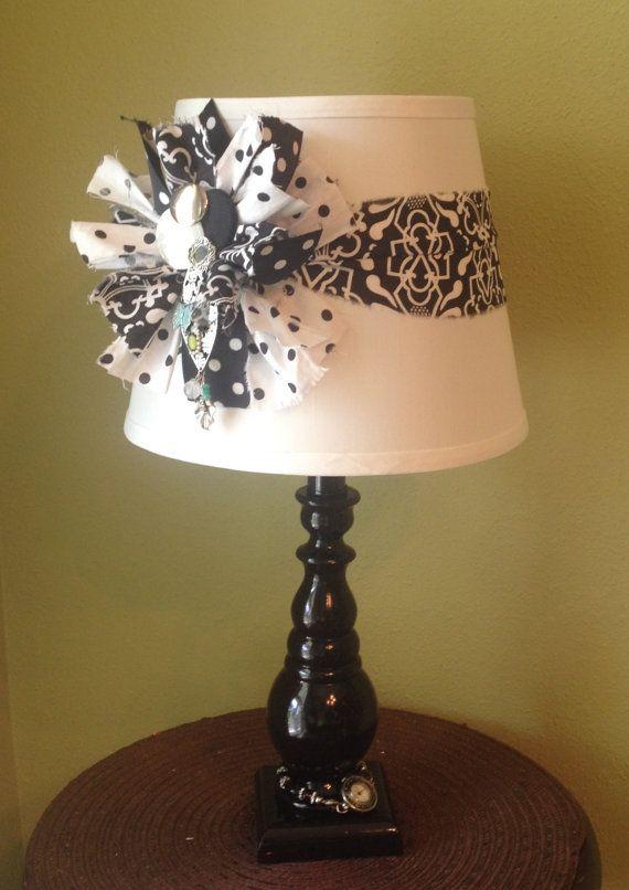 Handmade / Table Lamp / Black / White / Bohemian / Boho / Traditional /  Hippie