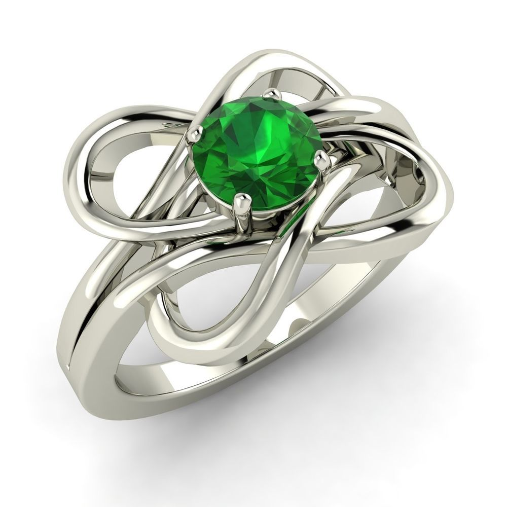 0.42 Ct Certified Natural Green Emerald Solitaire Engagement Ring 14k White Gold #Diamondere #Solitaire
