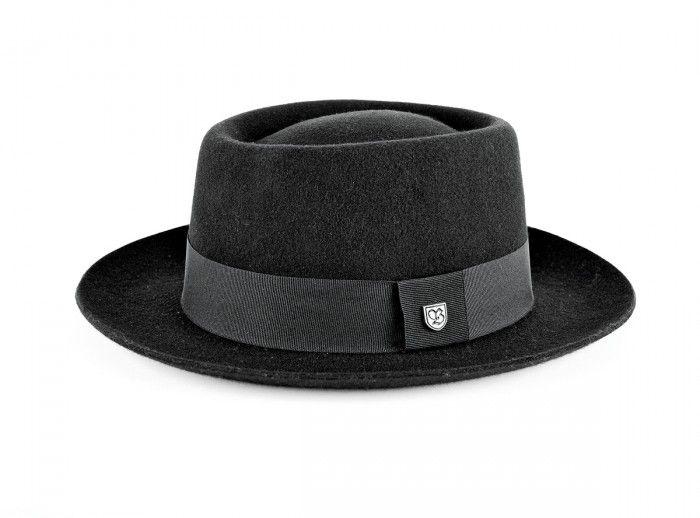 9fa670ed0e7 Wide brimmed felt porkpie shaped hat.