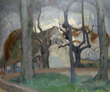 Gerben 'Germ' de Jong (Sint Jacobiparochie 1886-1967 Overveen) A farmhouse in winter - Dutch Art Gallery Simonis and Buunk Ede, Netherlands.