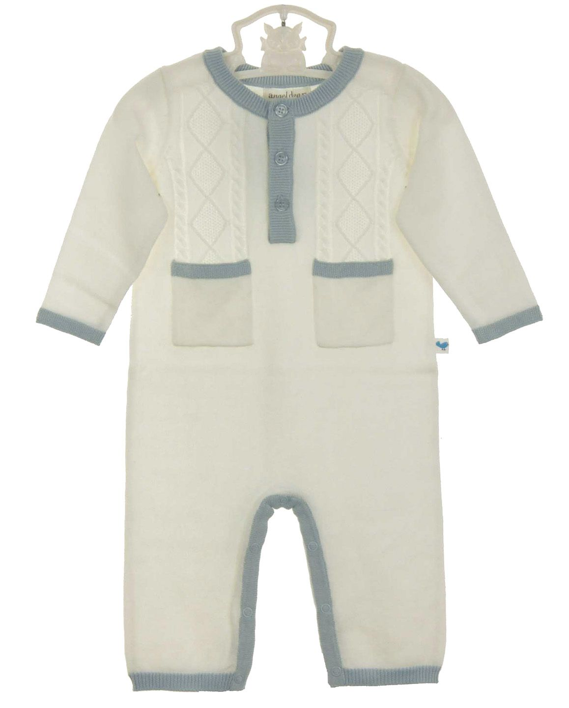 df99f359dee0 NEW Angel Dear Ivory Soft Cotton Cable Knit Romper with Blue Trim  50.00
