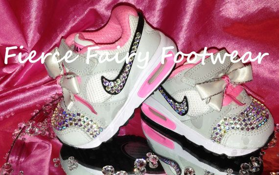 BLING Baby Nike Air Max Trainers Size 3 by FierceFairyFootwear ... 619c133ef