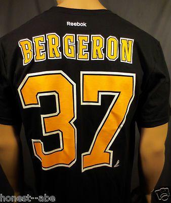 c2dcb0355 Reebok Boston Bruins Patrice Bergeron 37 Player Number Logo T Shirt LG New   27