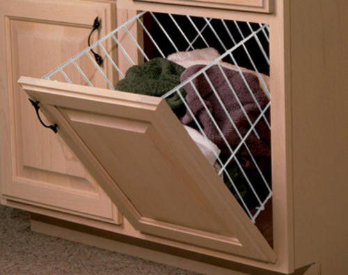Tilt-Out Wire H&er for Closets 24\  White with Door Hinge Hardware Home & Tilt-Out Wire Hamper for Closets 24\