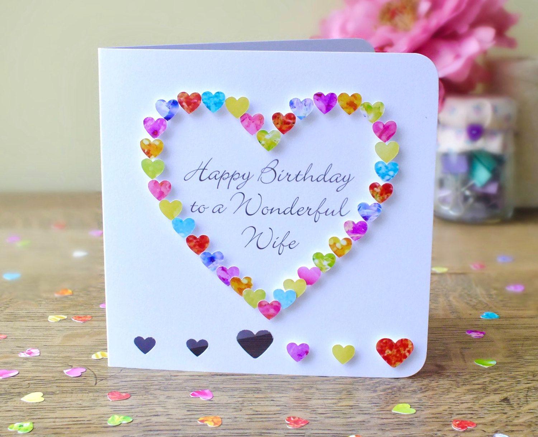 Wife Birthday Card Handmade Personalised Birthday Card For Wife