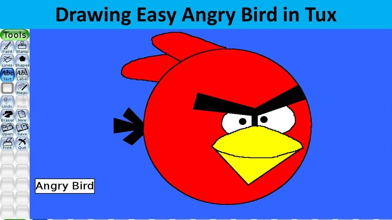 Draw Angry Bird In Tux Paint Tux Paint Tutorials Tux Paint Easy Drawings Tutorial