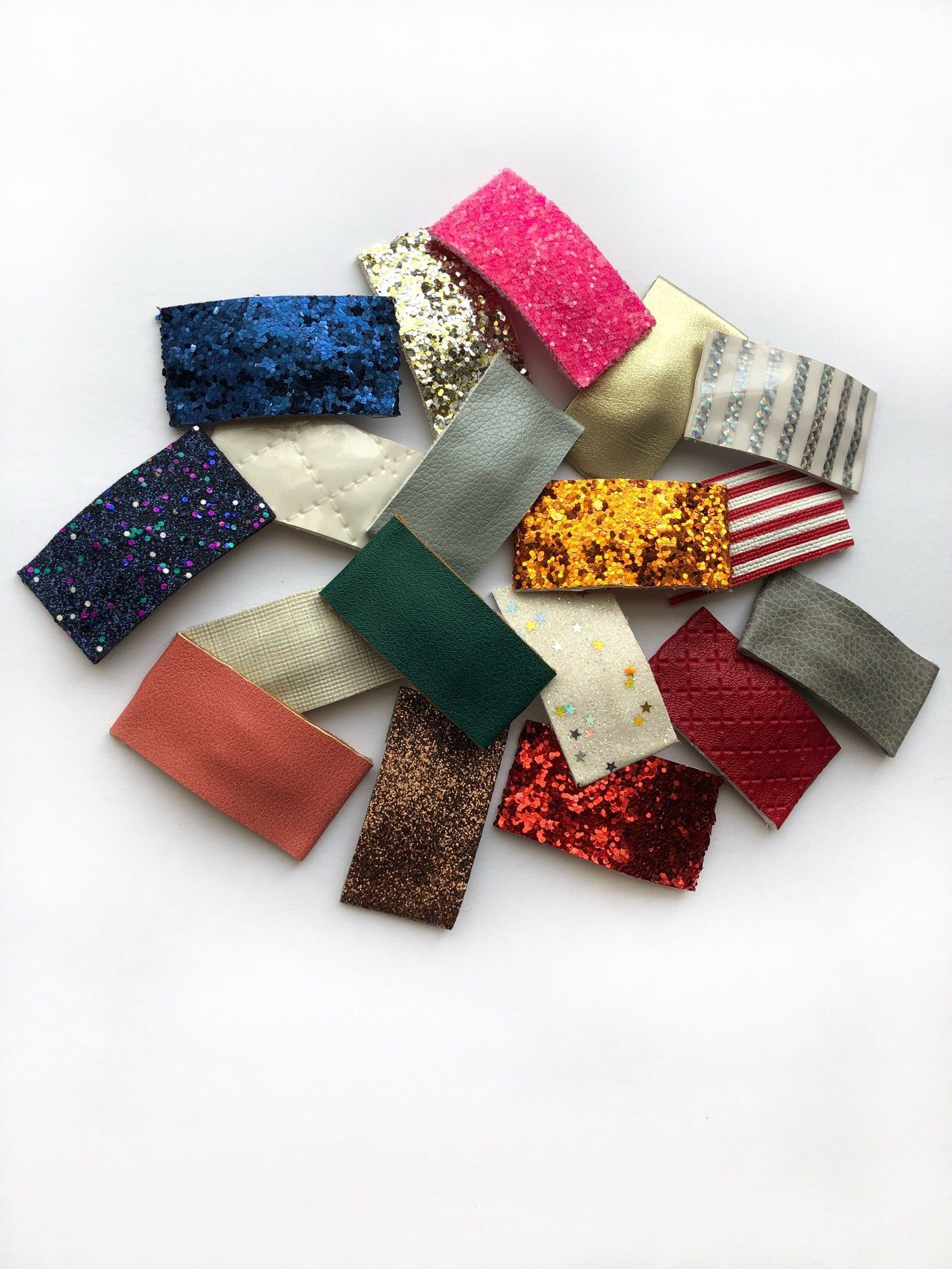 No Clip Leatherette // Faux Leather Fine Glitter Bow DIY 2 Inch 5 cm