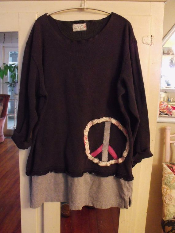Plus Size/Applique Peace Sign/Dark Grey Waffle by SheerFab on Etsy, $52.00
