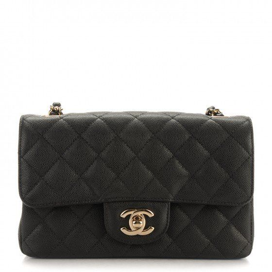 4999de4a8726 This is an authentic CHANEL Caviar Quilted Rectangular Mini Flap in Black.  This chic petite shoulder bag is crafted of diamond quilted luxurious shiny  ...