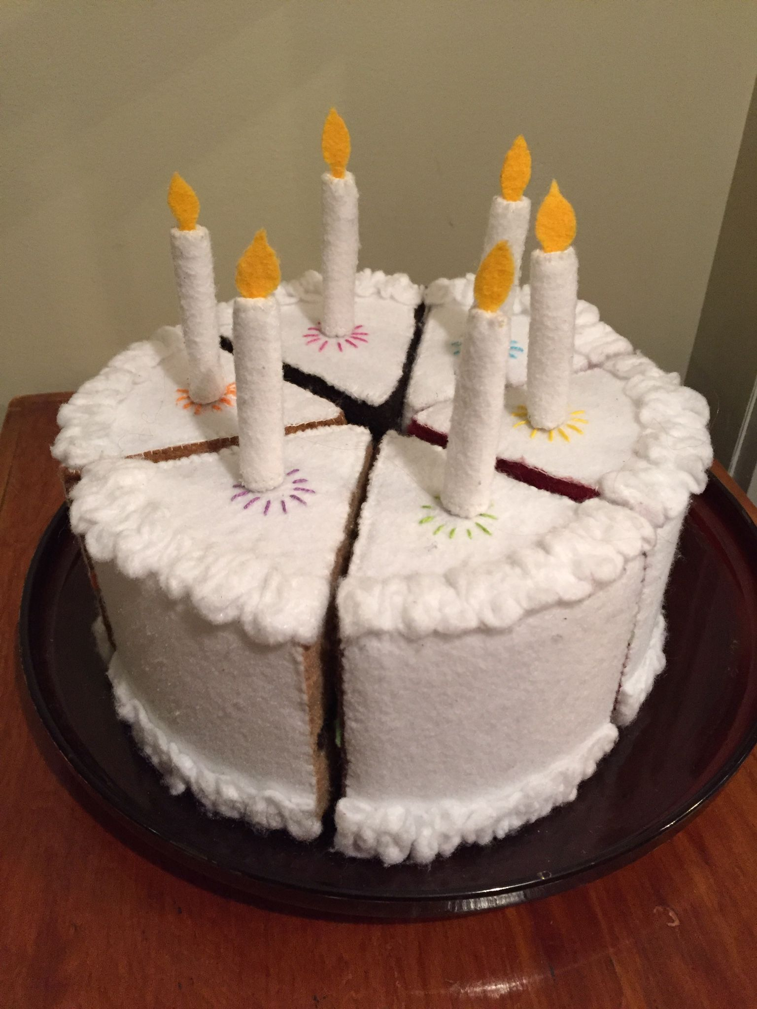 Felt CUSTOM birthday cake with magnetic candles Felt fun