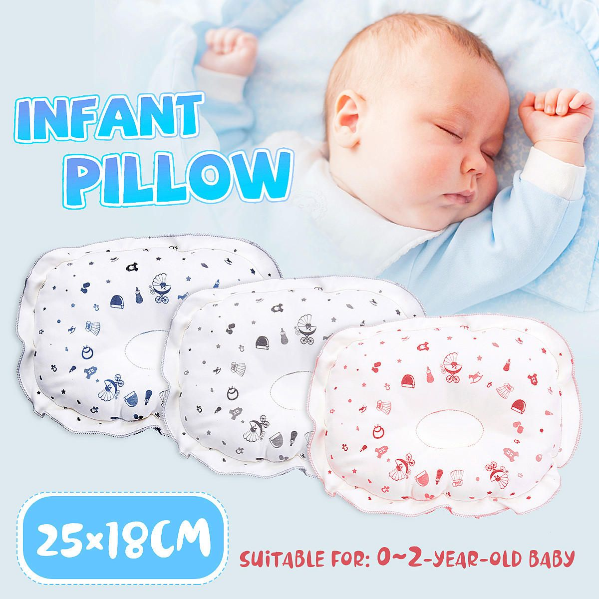 Baby Pillow for Sleeping Memory Foam Unisex Infant Pillow Baby Head Shaping Prevent Flat Head Syndrome Breathable Washable 100/% Organic Cotton Cover Newborn Gift for Baby Girls Boys with Baby Bib