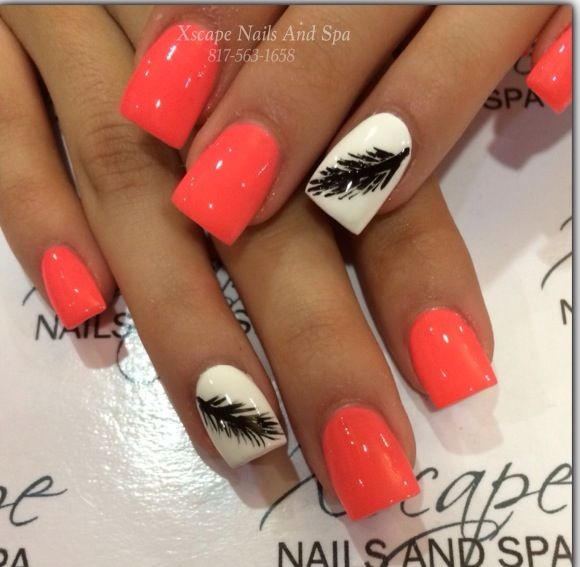 65 Examples Of Nail Art Design Feather Nail Art Feather Nails And