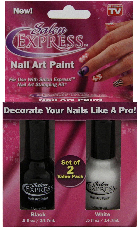 Salon Express Nail Art Paint 2 Colors Black And White Check