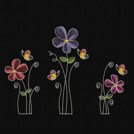Machine Embroidery Design Flowers SET 3 items 5×7 in INSTANT DOWNLOAD 8 Formats spring flower machine patterns embroidery file