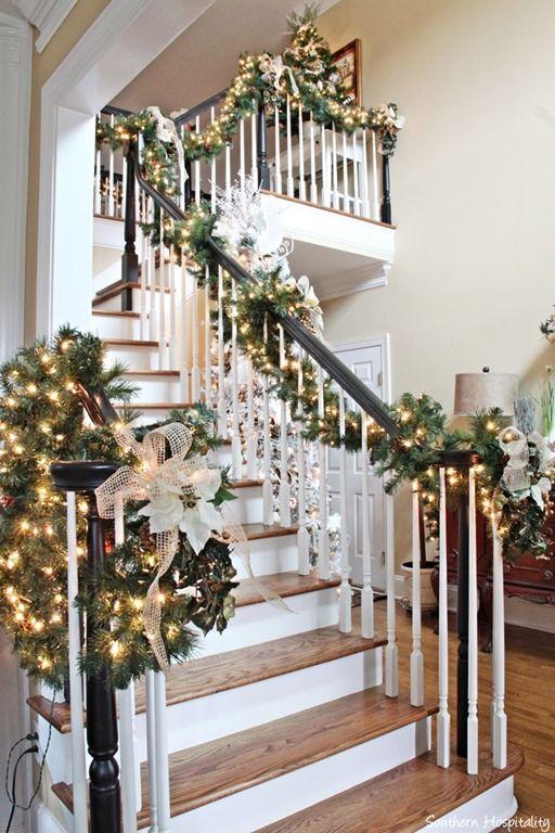 garland-on-stairsjpg 512×768 pixels ~Christmas decor~ Pinterest - christmas home decor