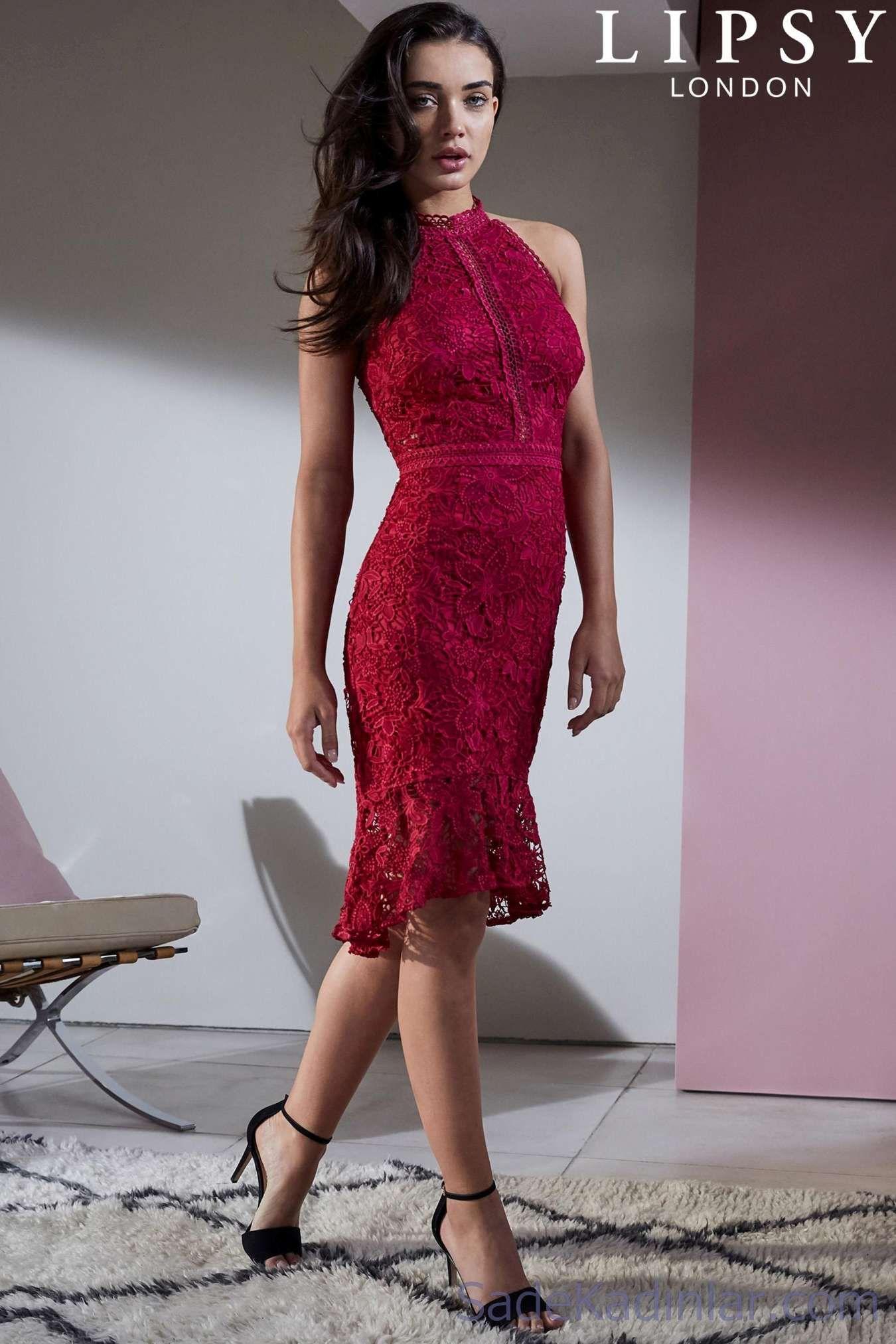 Midi Boy Kirmizi Abiye Elbise Dantel Cicek Islemeli The Dress Elbise Elbise Modelleri