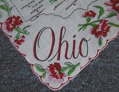 Vintage OHIO State Souvenir Hankie State Map Cities Flower red ...