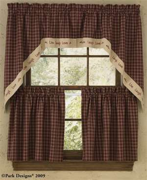"Park Designs ""sturbridge"" Country Cottage Curtain Live Love Laugh Fascinating Swag Curtains For Kitchen Inspiration Design"