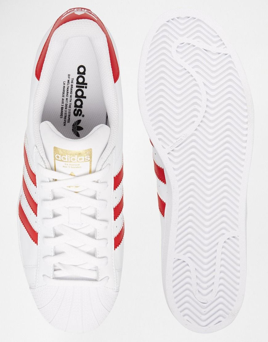 adidas originals superstar foundation white & red trainers