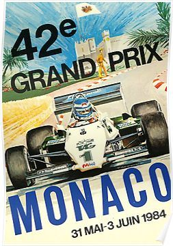Gran Prix de Monaco, 1984, vintage poster, black background Poster