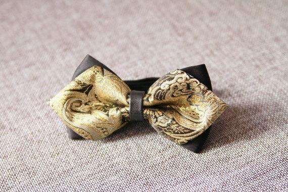 Black Gold Floral Bow Tie Bowtie - Pre-tied Double Bows Flower - Men Boy Toddler Child