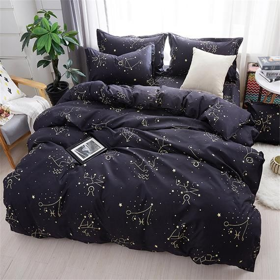 High Quality Simplicity Microfiber Duvet Cover Black Bedding With Dream Starry Sky Comfortable And Hypoallergenic The Best Bedroom Decor In 2021 Minimalist Bedding Sets Bed Linens Luxury Bedroom Decor