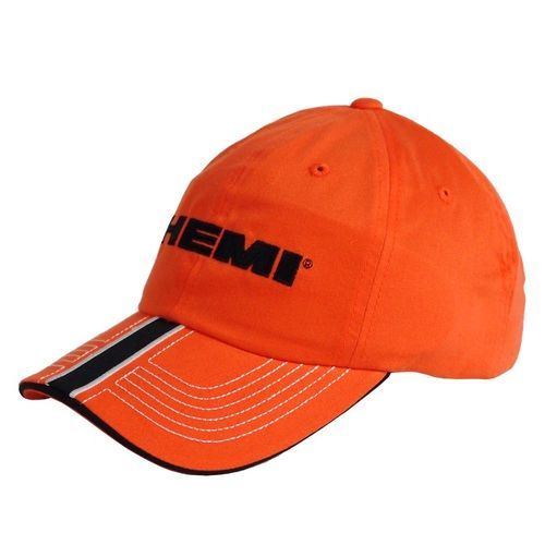 5b371575615 Mopar Hemi hat in bright orange. The HEMI logo is embroidered in black on  the front. The visor has a black stripe with white embroidered borders  running ...