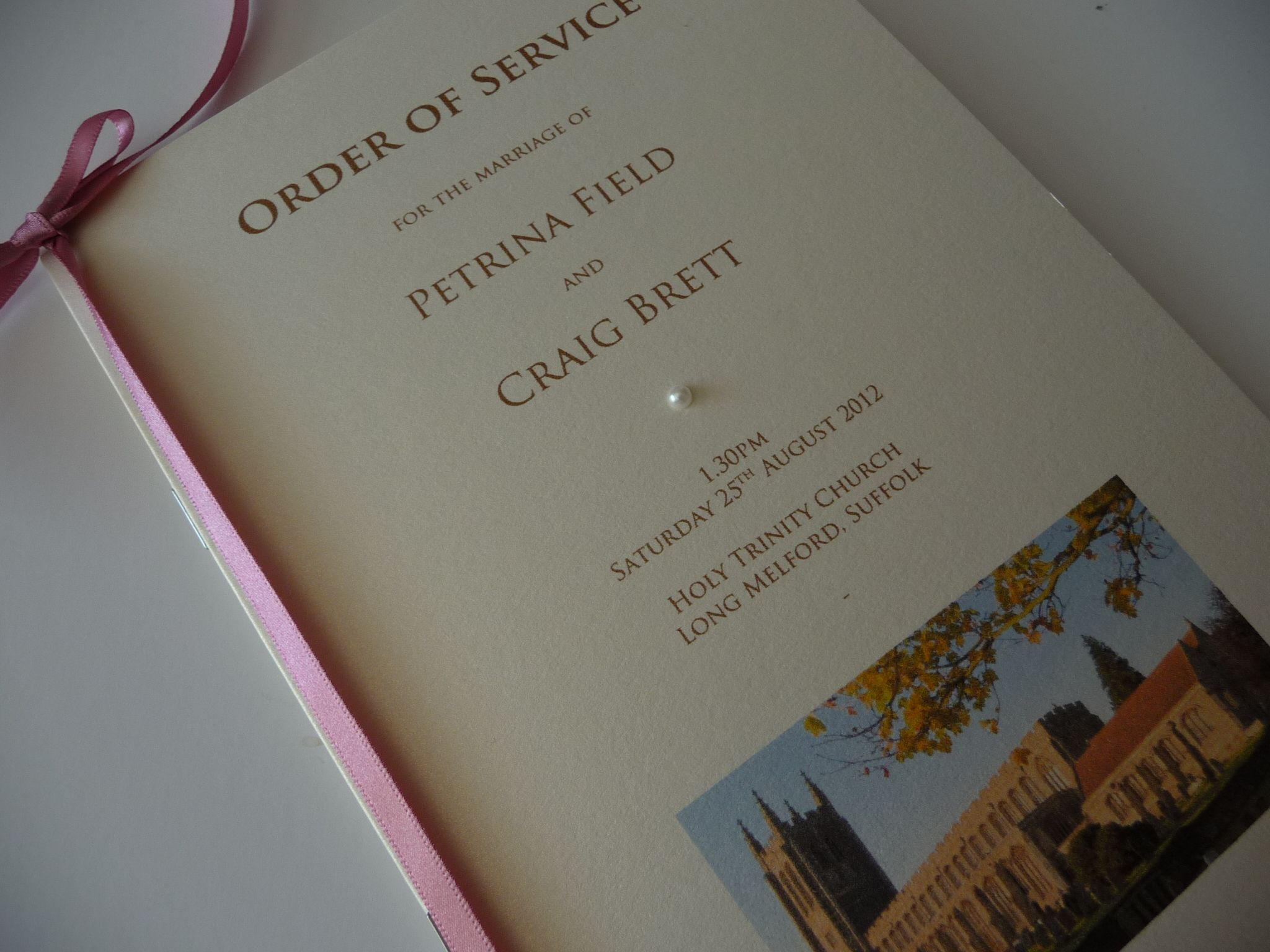 Ivory Dusky Pink Order Of Service Booklet With A Photo The Church Printed Onto